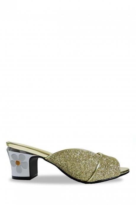 Jacquelee Amy Gold Glitter Low Heel